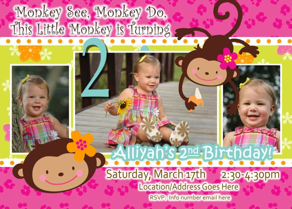 Monkey Love Invitations Monkey Love Invite Birthday