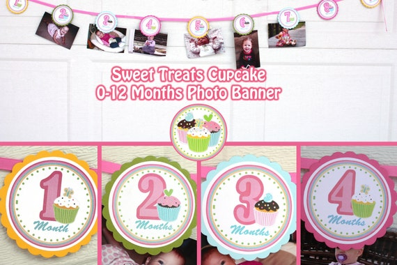 cupcake photo banner birthday party sweet treats cupcake party