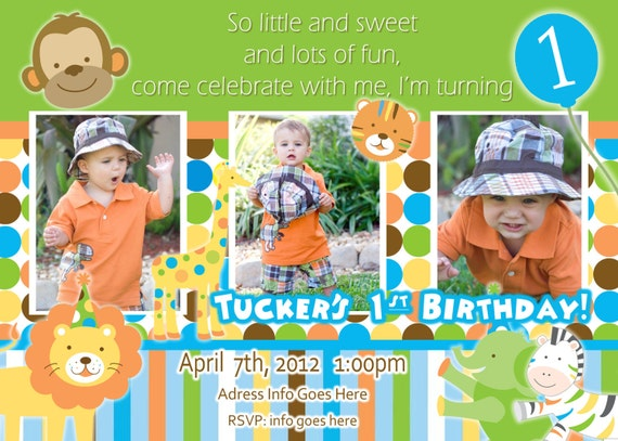 Sweet Safari Invite Boy Invitation 1st Birthday Party – Safari First Birthday Invitations