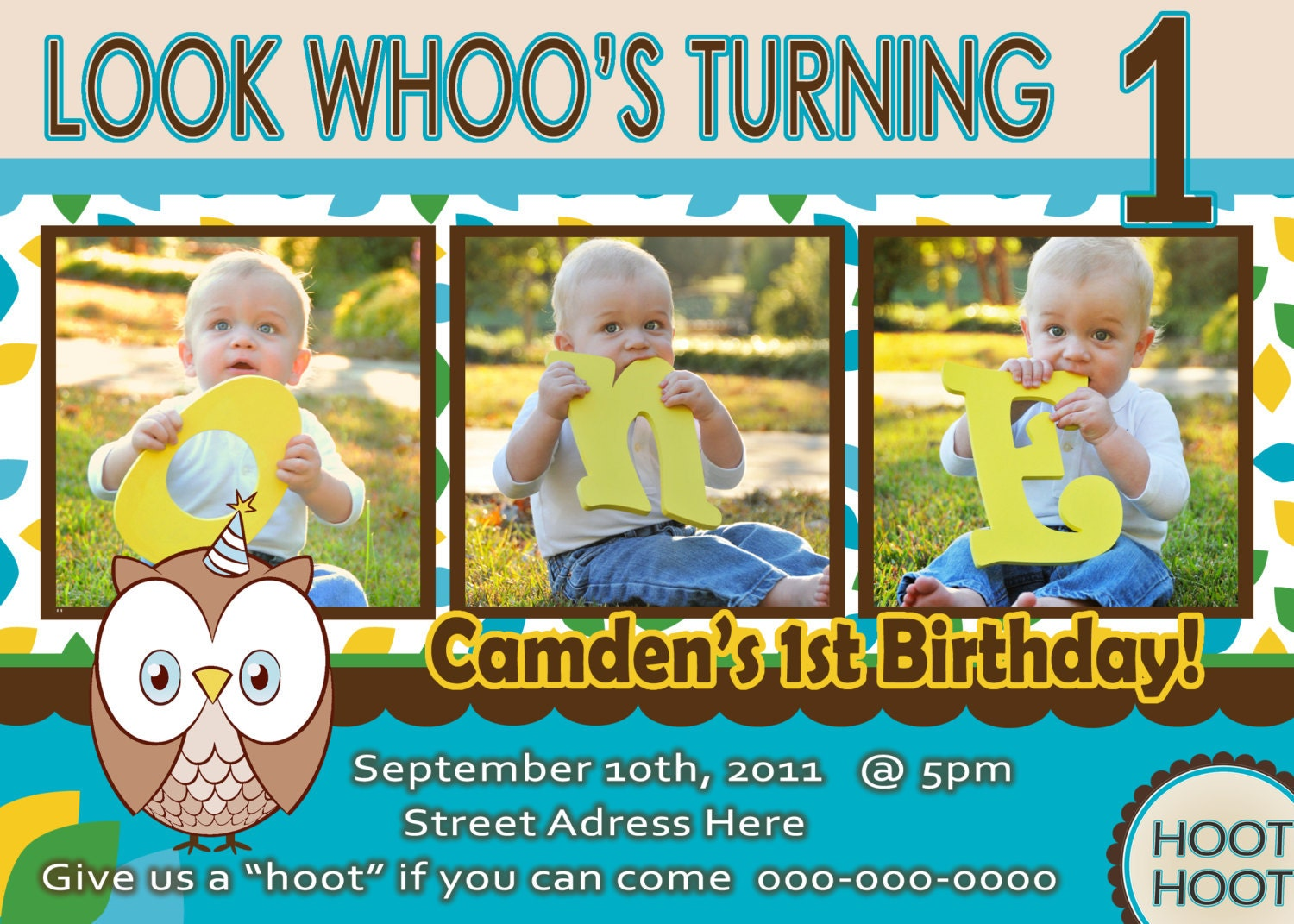 Owl Invite Boy St Birthday Party Invitation Look Whoos Owl - Birthday invitation for one year baby