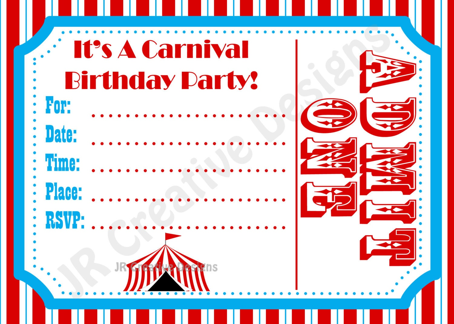 Carnival Invite Circus Invite Circus by JRCreativeDesigns ...