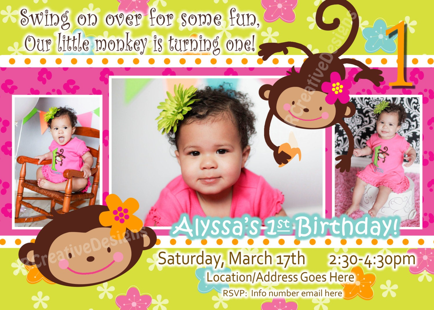 Monkey Love Invitations Monkey Love Birthday Photo