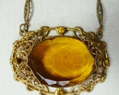 Art Deco Necklace Czech Glass  Vintage Art Deco Jewelry Czech Necklace Antique Jewelry  Topaz Necklace Stunning!