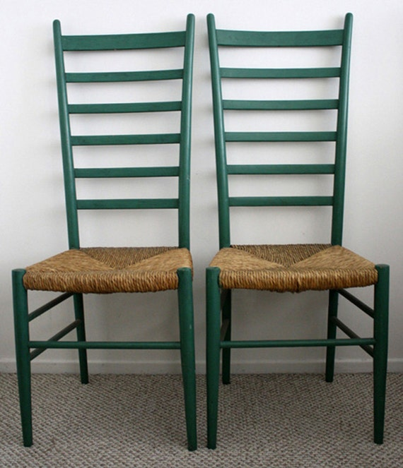 Pair of Green Ladderback Chairs
