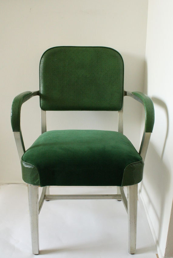 Custom Listing:  (2) Green Industrial Arm Chairs + Packaging