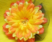 orange and yellow flower with dragonfly center and black tulle accent clip for hair or brooch or purse
