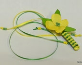 Braided barrette of yellow and green and  ribbon flower with spring colors