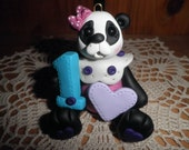 Polymer Clay Panda Bear -Personalized Panda Bear Ornament/Cake Topper/Keepsake (Girl)