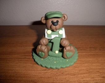 Brown Bear Birthday Cake Topper and Keepsake (Boy) Green