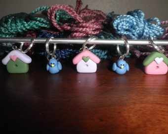 Polymer clay- Birdhouse and Blue Bird Stitch Markers (set of 5)