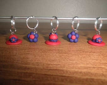 Polymer Clay Stitch Markers- Red and Purple Hats and Flowers Stitch Markers (set of 5)