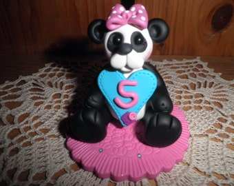Polymer Clay Panda Bear -Panda Bear Holding Heart  Birthday Cake Topper,Keepsake,Gift (Girl 5) )