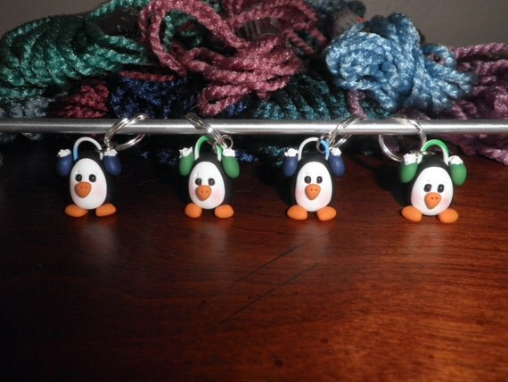 Polymer Clay-Penguins with Earmuffs Stitch Markers (set of 4)