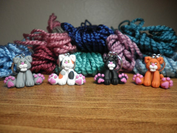 Polymer Clay Stitch Markers- Kitty Stitch Markers (set of 4)