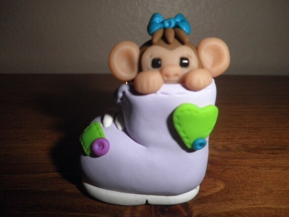Polymer Clay Monkey -Personalized Monkey in Lavender Boot Ornament/Figurine/Keepsake (Girl)