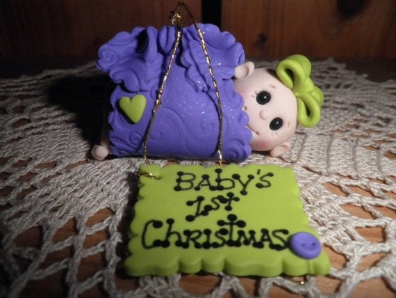 """Polymer Clay Baby -Personalized """"Baby's First Christmas"""" Ornament/Gift"""
