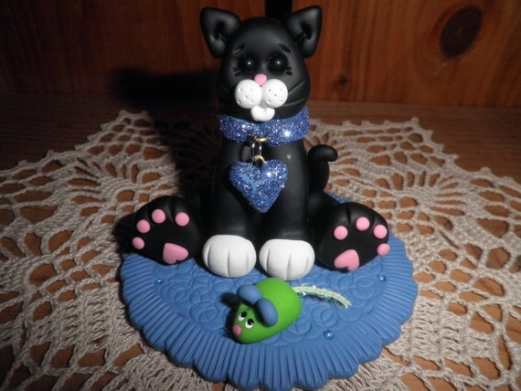 Polymer Clay Kitty -Black and White Kitty With Glittery Collar and Toy Mouse Cake Topper/Gift