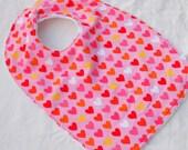 toddler girl bib pink hearts bib