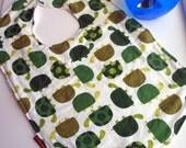 boys bib toddler bib - turtles green