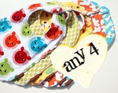 baby bibs pick 4 your choice Chenille Cotton Snap bibs