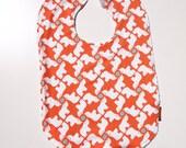 toddler bib baby rhino orange terry cloth flannel metal snap