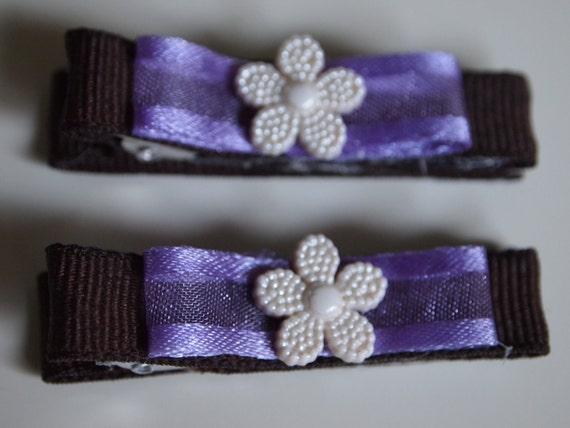 Flower hair clip purple brown