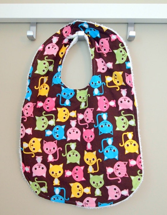 Toddler Bib baby Cat Kitten Bib Terry Cloth