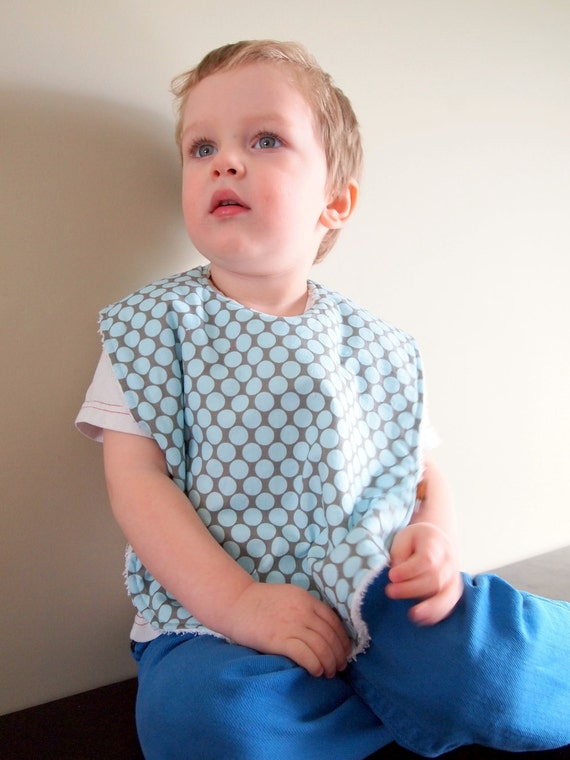 toddler bib baby boys blue oversize terry cloth snap amy butler