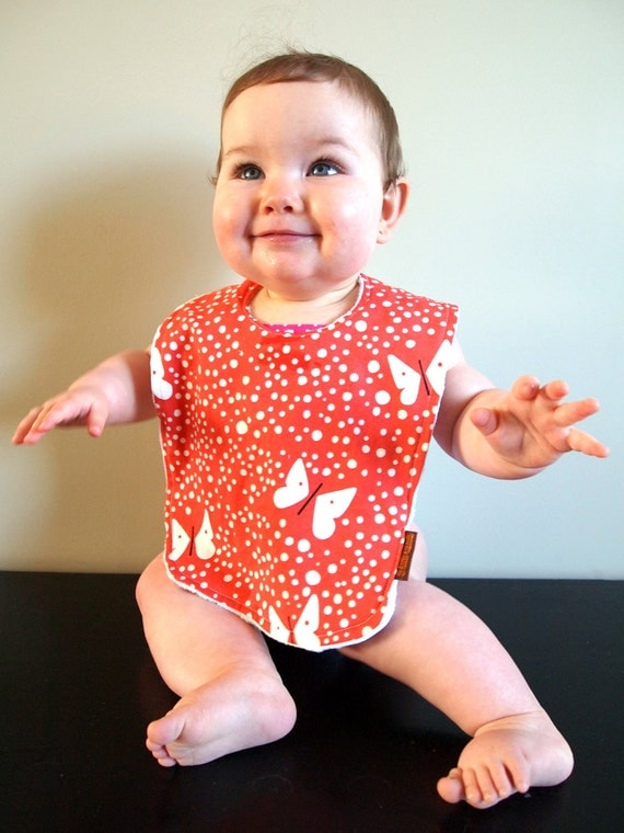 butterfly baby bib girl pink red cotton minky snap bib