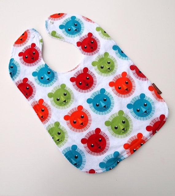 toddler bib lion bright tiger summer cotton terry cloth snap