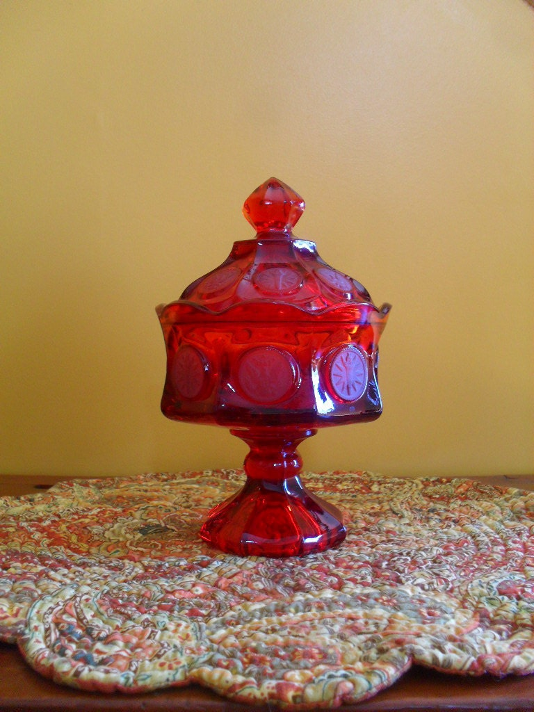 Vintage Fostoria Coin Glass Ruby Red Footed Candy Dish with