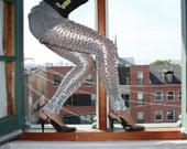 Chainmail Leggings, Available in Silver, Apple Green, Black and Gold, Metallic Spandex- Made to Order