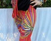 Printed Spandex Leggings,Tribal Feather Motif in Bright Neon Colors on Electric Red background