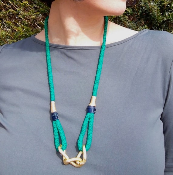 Kelly Green Bling Necklace with Chunky Gold Chain, crochet rope with navy, yellow and creme silk chord details