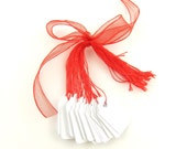 Red & White Hang Tags with String - Set of 25 Small Scalloped Price Tags with Red String, Heart Shaped Hole