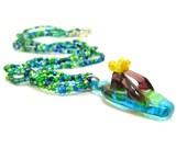 Teal Necklace Flip Flop Lampwork Glass Sandal Blue Green Beaded Choker