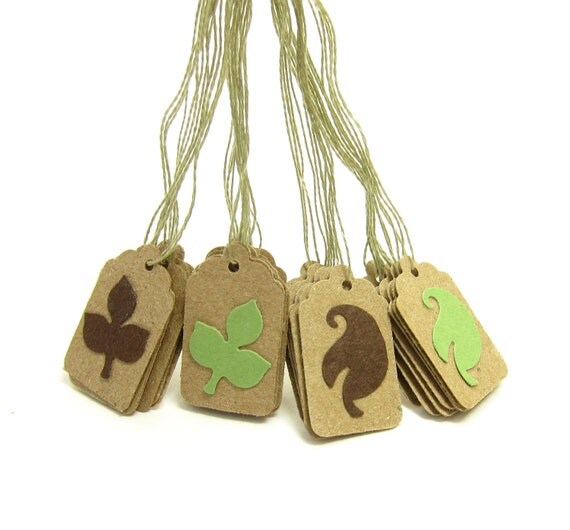 Hang Tags Small Green Brown Leaves, Kraft Paper with String