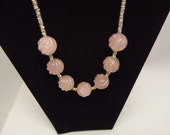 Vintage Rose Quartz Beads and Silver Necklace