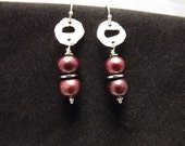 Burgandy Pearls and Hammered Silver Earrings