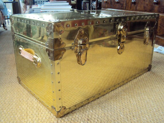 SOLD/ Brandon/ Vintage Brass Trunk Steamer Coffee Table