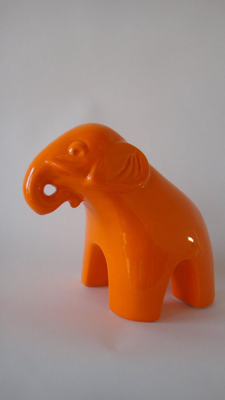 Vintage Orange Elephant Ceramic Jonathan Adler By Tweakedhome