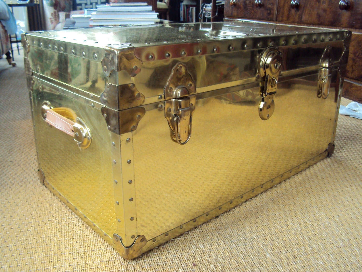 SOLD Brandon Vintage Brass Trunk Steamer Coffee Table
