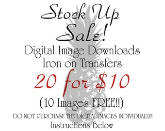 Digital Download for Iron on Transfer Digital SALE 20 10 Dollars Clip art Printable DIY Digital Collage Sheet Tea Towel Fabric Pillow
