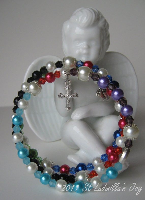 Glass Pearl and Crystal Right-To-Life/Pro-Life Full Rosary Bracelet (390)