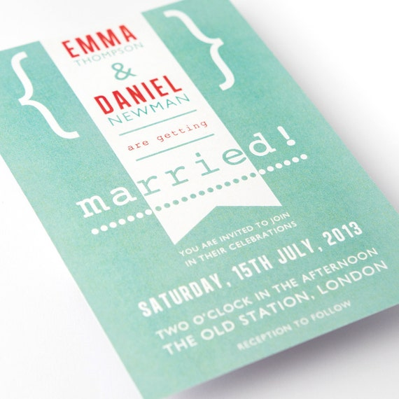 Modern Wedding Invite Wording: Items Similar To Modern Vintage Wedding Invitations
