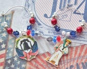 4TH OF JULY Patriotic Drink CHARMS Stem Ware Table Decor Decoration Red White & Blue Cabbage Chic Set of 6