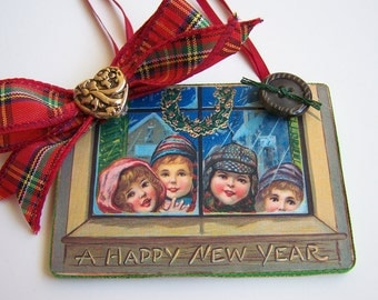 """Victorian Christmas Tree Ornament Holiday Ornament Vintage Postcard Handmade """"Children Looking in Window"""""""
