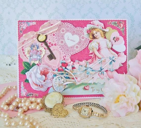 Valentine Card Shabby Victorian Handmade OOAK Vintage-Inspired