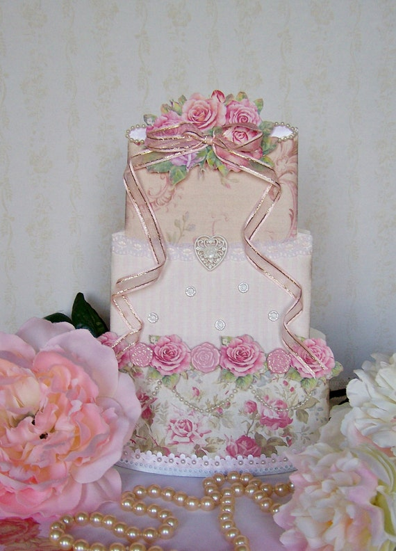 Wedding Cake Bridal Card Birthday Card Bridal Shower Centerpiece Handmade OOAK