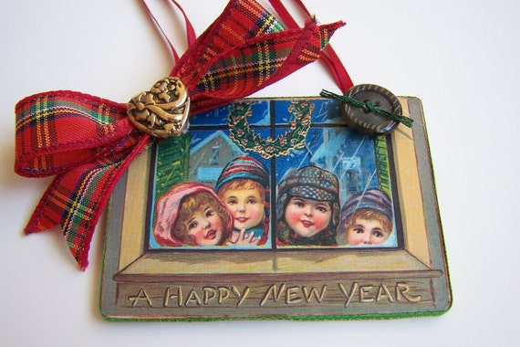 "Victorian Christmas Tree Ornament Holiday Ornament Vintage Postcard Handmade ""Children Looking in Window"""